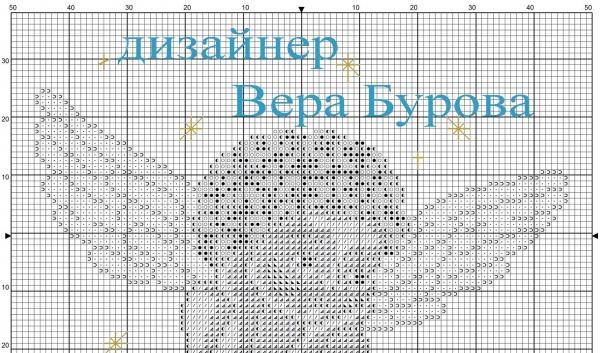 Схема вышивки крестом ангела на небе