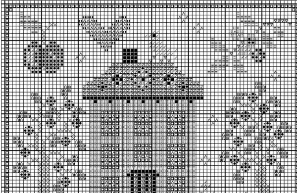 Схема вышивки крестом яблоневого сада у дома