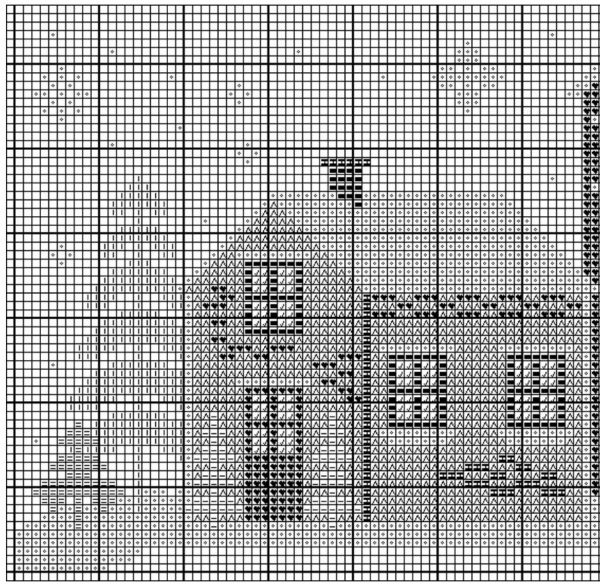 Схема вышивки крестом зимнего пейзажа с домами
