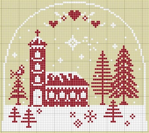 Схема вышивки крестом зимнего сюжета с храмом