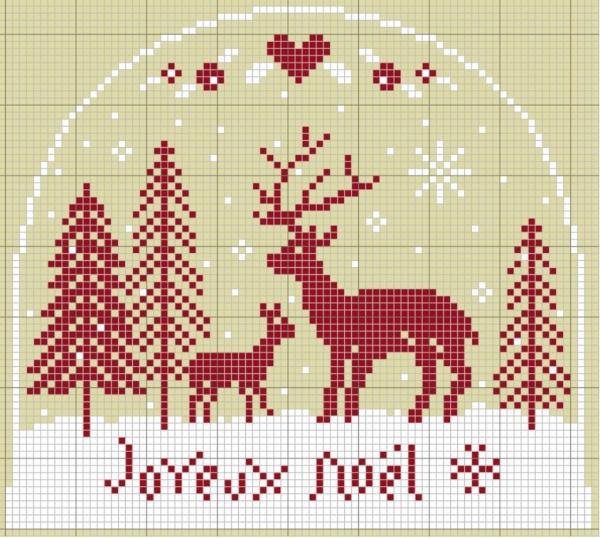 Схема вышивки крестом зимнего сюжета с оленями