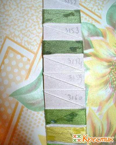 Обратная сторона планки с номером мулине