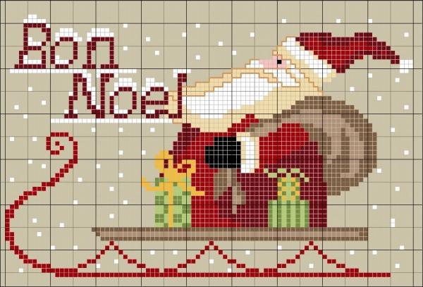 Схема вышивки крестом Санта на санях с подарками
