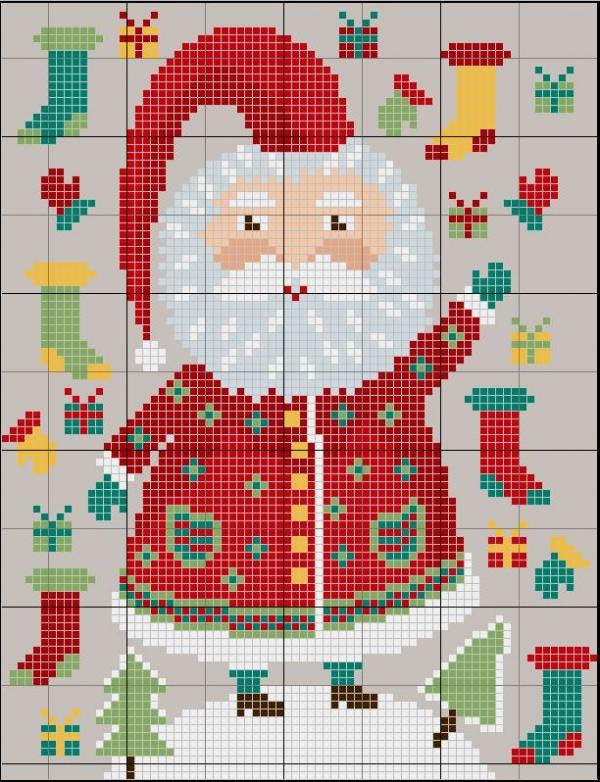 Схема вышивки крестом Санта раздает подарки