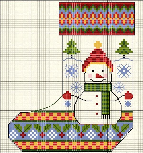 Схема вышивки крестом сапога Снеговик