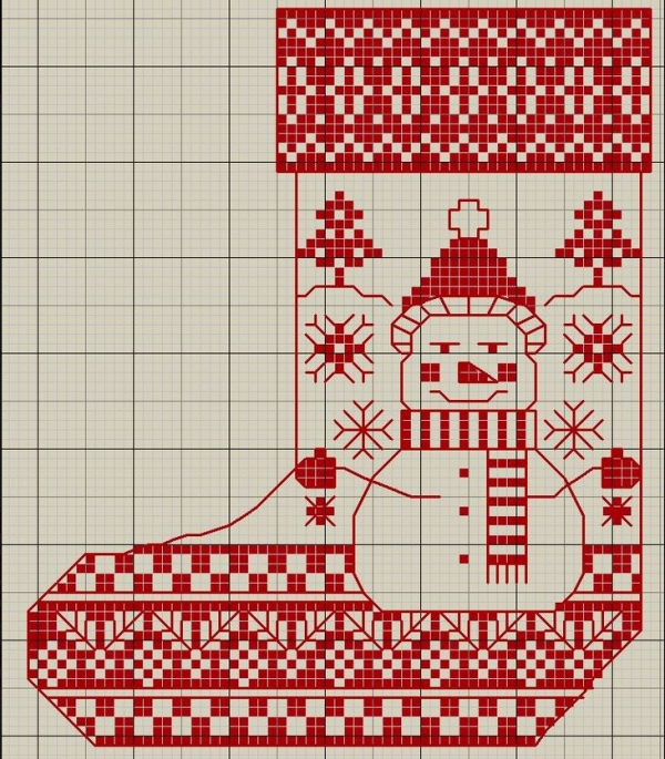Схема вышивки крестом сапога Снеговик монохром
