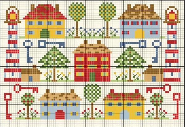 Схема вышивки крестом маяка с домами и ключами