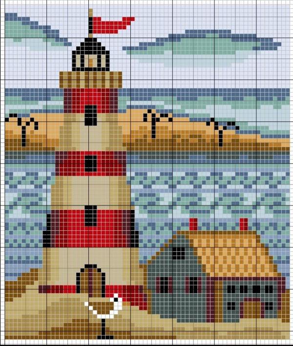 Схема вышивки крестом маяка с флажком