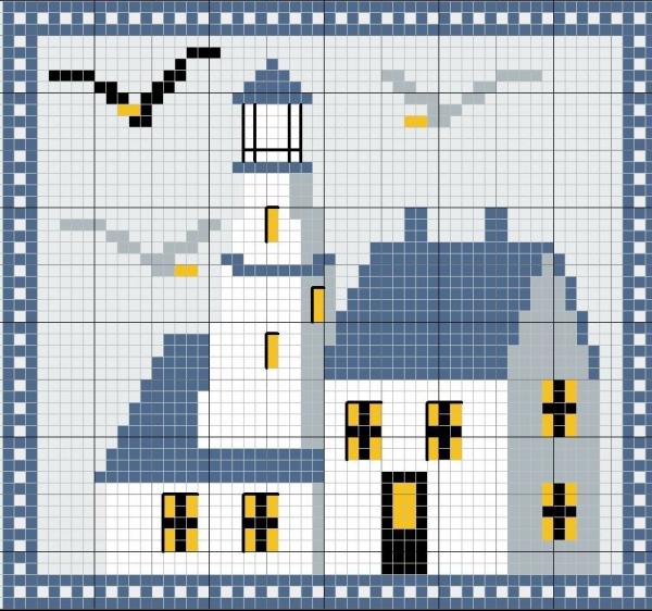Схема вышивки крестом маяка в бело-голубых тонах