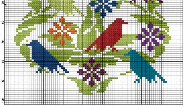 Схема для вышивки крестом ярких птиц