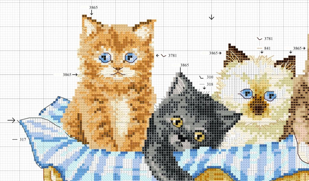 Маленькая схема вышивки котенка