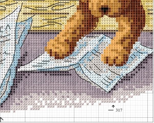 Схема для вышивки четырех щенков