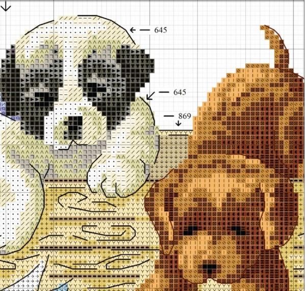 Схема для вышивки крестом четырех щенков