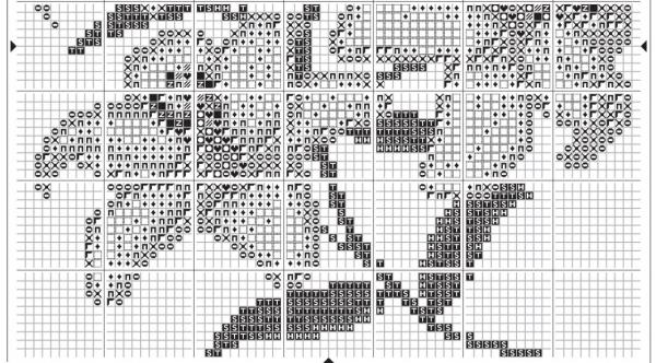 Схема для вышивки крестом лилий