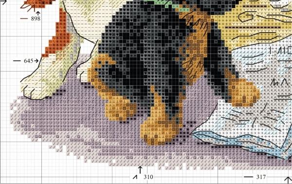 Схема вышивки четырех щенков