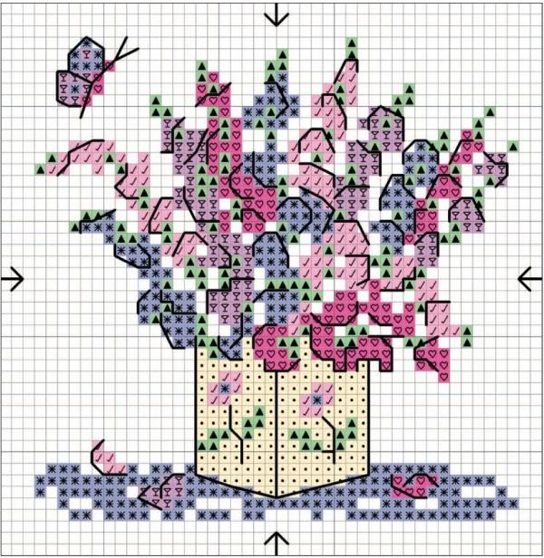 Схема вышивки крестом букет душистого горошка
