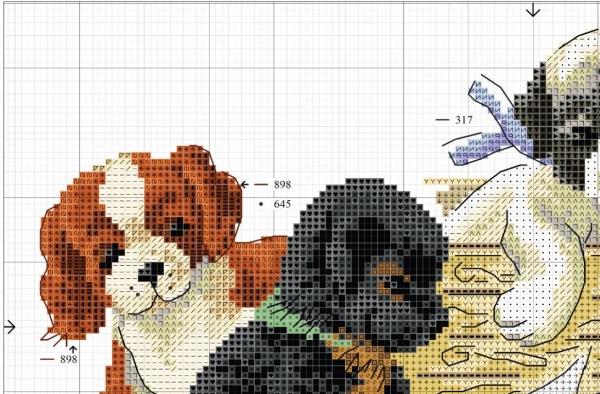 Схема вышивки крестом четырех щенков