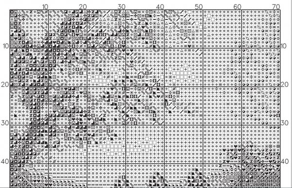 Схема вышивки крестом осеннего пейзажа у реки