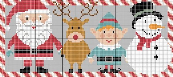 Схема вышивки крестом снеговика с друзьями