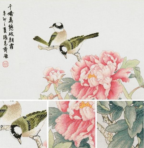 Птицы и пионы