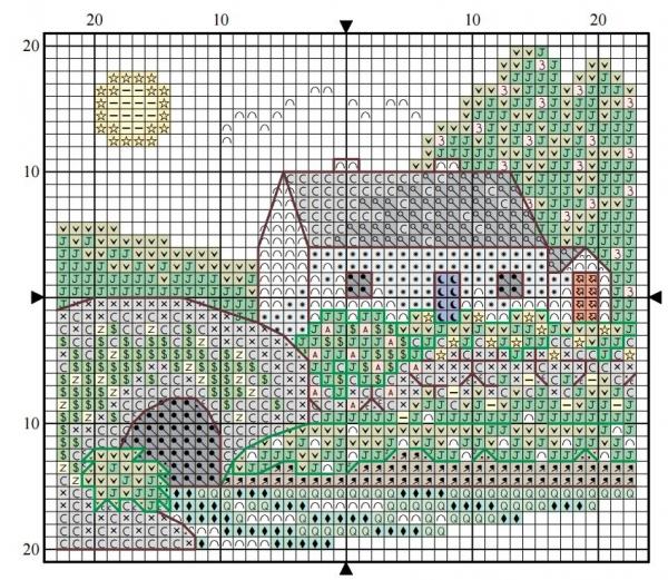 Схема вышивки крестом дом у реки