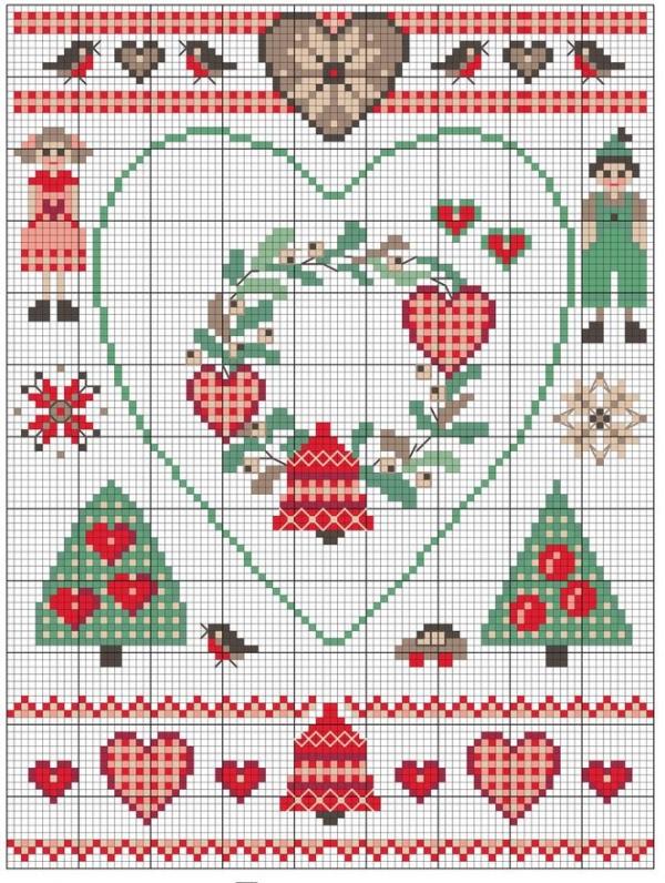 Схема для вышивки крестом к Рождеству