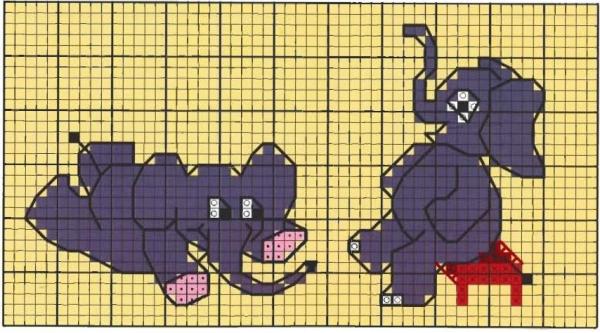 Схема для вышивки крестом слонов малышей