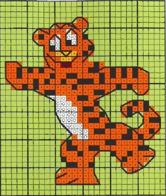 Схема для вышивки крестом тигра малыша