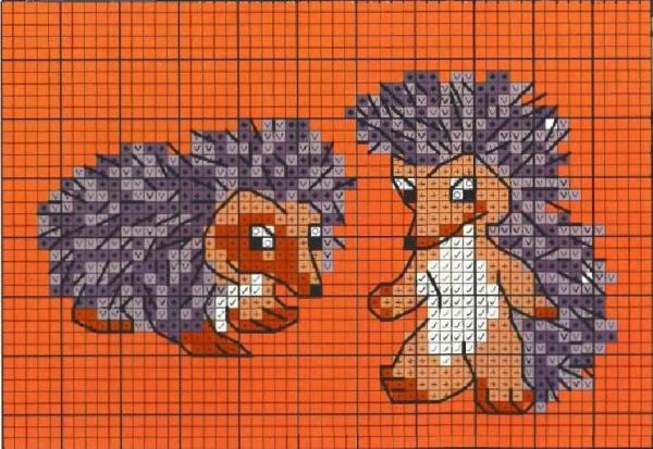 Схема вышивки крестом двух ежей