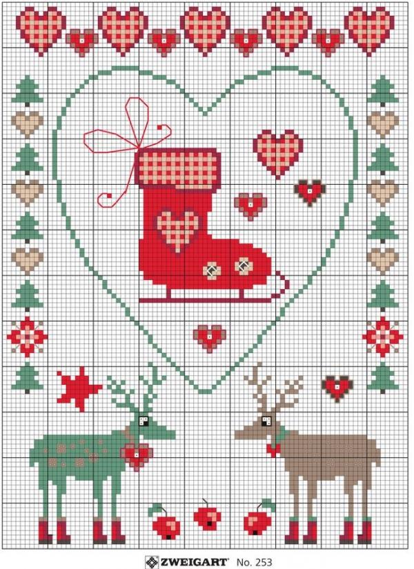 Схема вышивки крестом к Рождеству