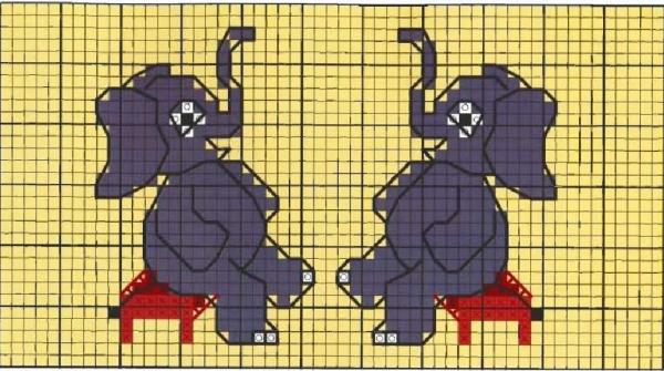 Схема вышивки крестом слонов малышей