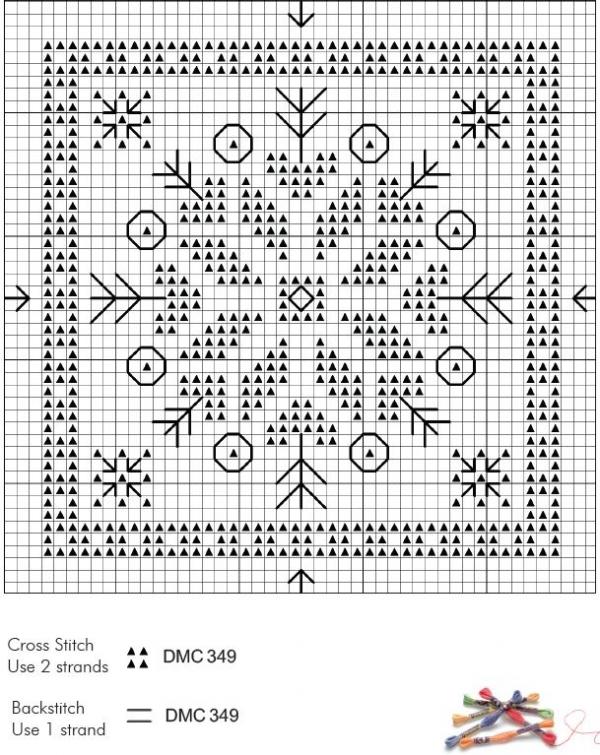Схема вышивки крестом снежинок монохром