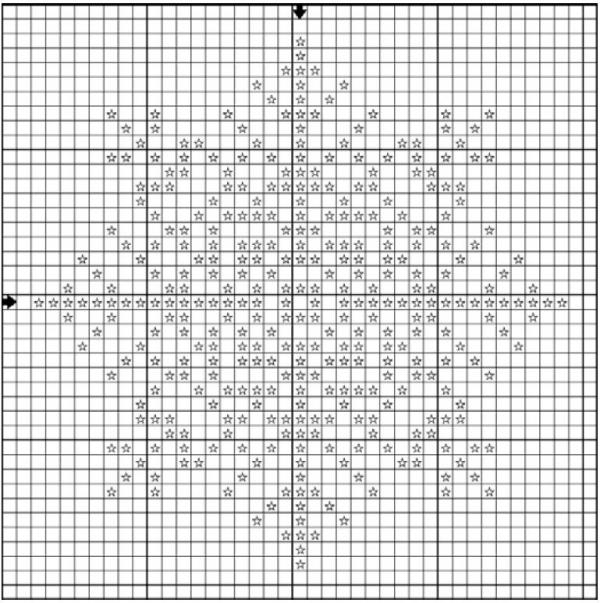 Схема вышивки крестом снежинок