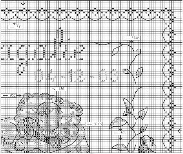 Схема для вышивки детской метрики малыш и заяц