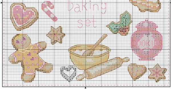 Схема для вышивки выпечки рождественской