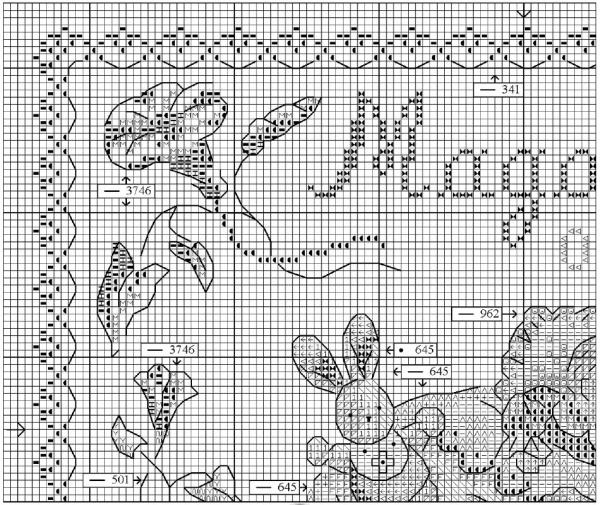 Схема вышивки крестом детской метрики малыш и заяц