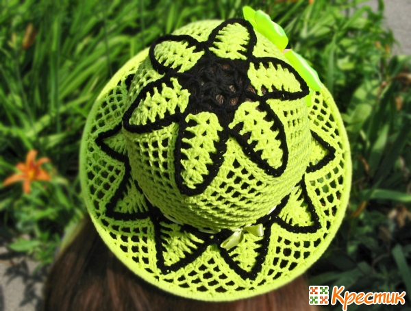 Шляпа крючком с полями