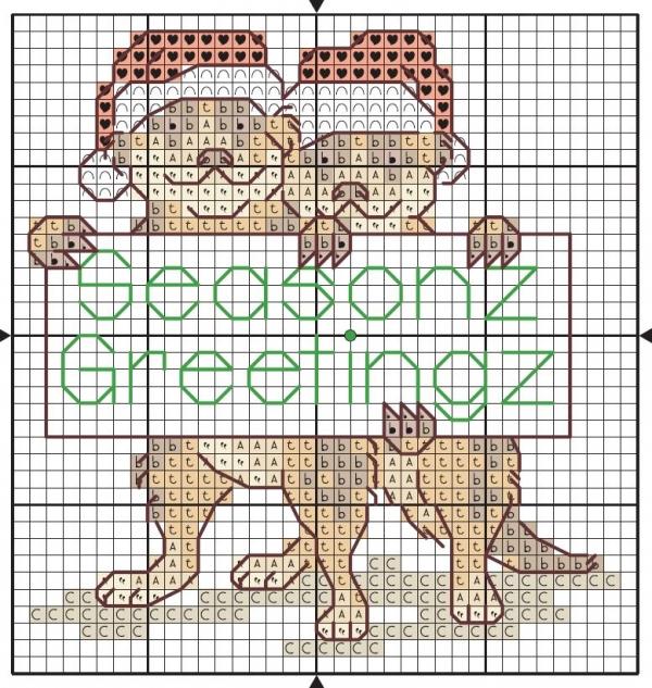 Схема вышивки крестом двух сурикатов
