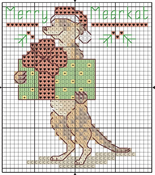 Схема вышивки крестом суриката с подарком