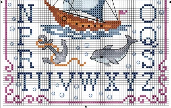 Схема для вышивки крестом морского алфавита
