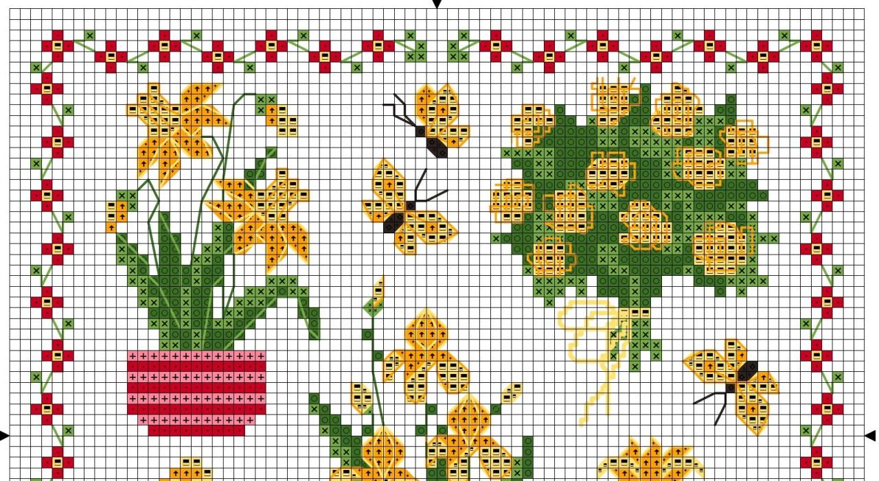 схема вышивки крестом розы и бабочки