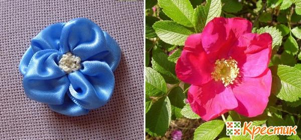 Шиповник и роза из лент