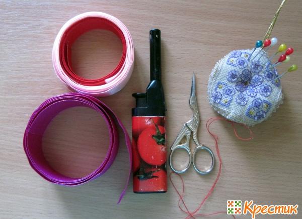 Материалы для создания роз из лент