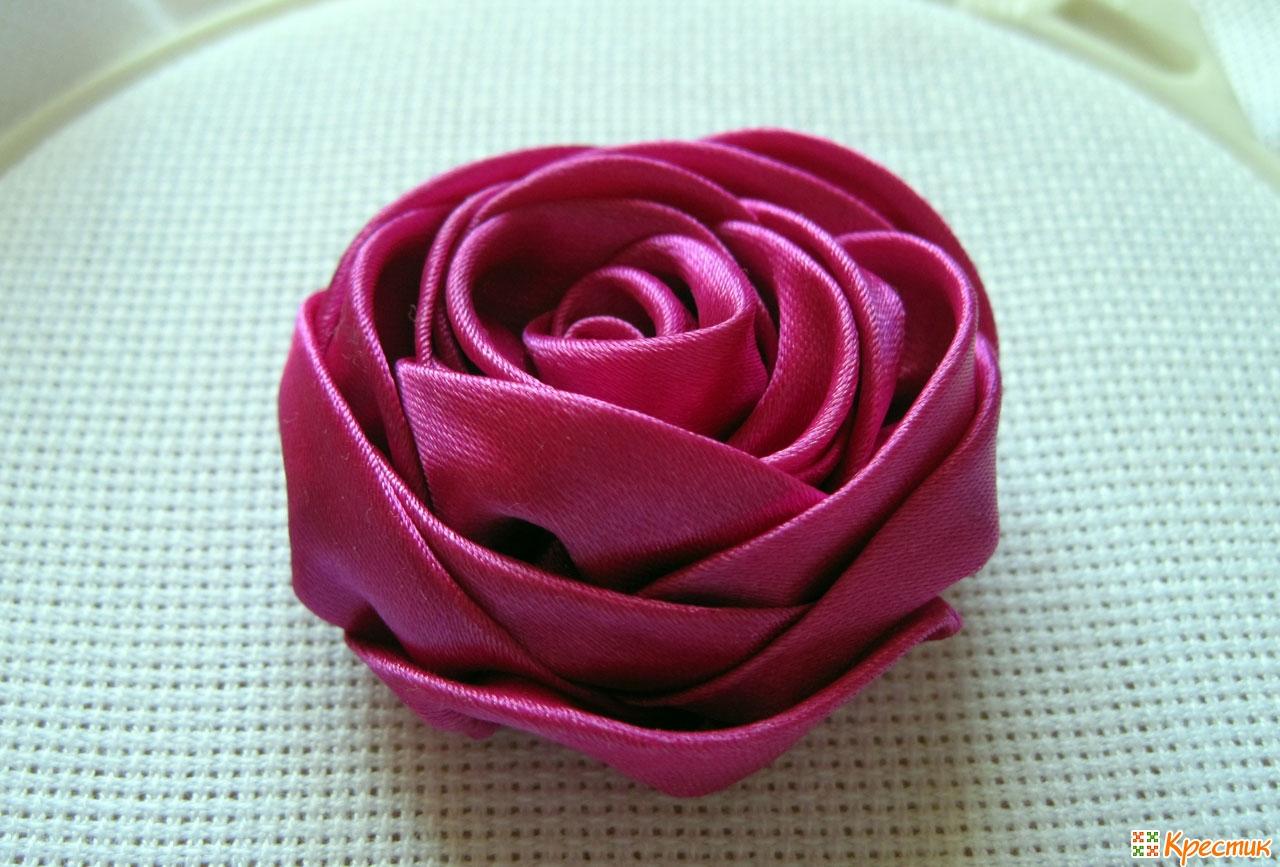 Роза из ленты своими руками пошаговое фото 35