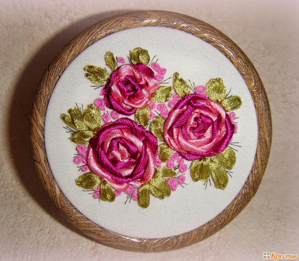 Вышивка роз лентами схемы для начинающих