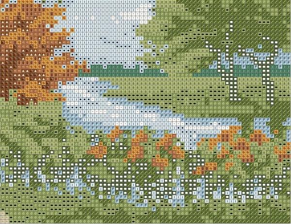 Схема для вышивки дом у озера