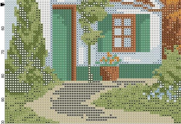 Схема для вышивки крестом дом у озера