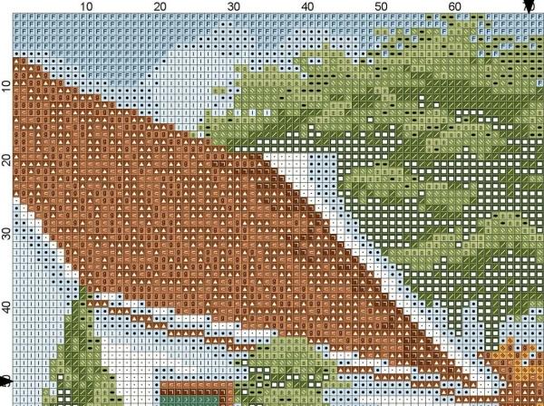 Схема вышивки крестом дом у озера
