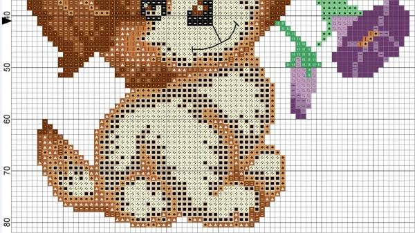 Схема вышивки крестом щенка