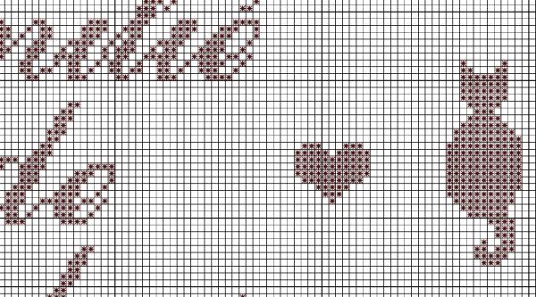 Схема для вышивки кошек монохром